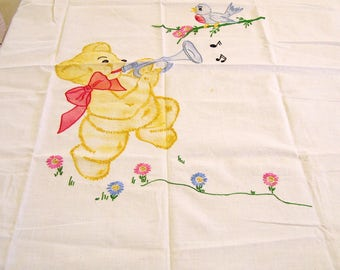 Completed Vogart Stamped Colored Transfer Embroidery 1940s Crib Coverlet Top Teddy Bear and Bluebird