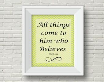 Inspirational Wall Art,Religious Wall Art,Bible Verse Printable,Yellow Chevron Wall Art,Encouragement Wall Art,Digital Download Wall Art