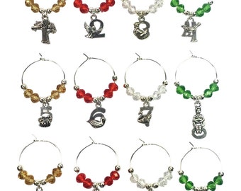 Set of 12 Twelve Days Of Christmas Wine Glass Charms by Libby's Market Place