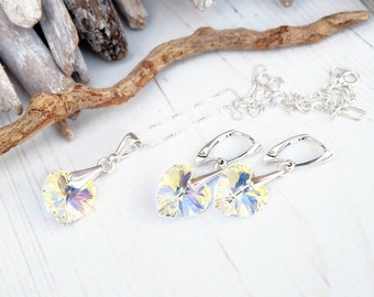 Swarovski Crystal AB Heart Earring Necklace Set- Swarovski Crystal Jewellery-Sterling Silver Heart Dangle Earring Necklace-Bridesmaides Gift