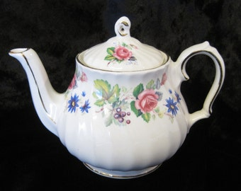 Small Sadler Teapot for One, Pink Roses, Blue Daisies and Purple Berries