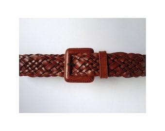 Brown Leather Belt. Large Leather Belt. Plaited Leather Belt. Vintage Large Belt. Women belt. Waist Belt. Vintage Women Belt. Plaited Belt