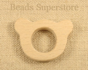 SALE Natural Wood Teddy Bear Teether - Natural Unfinished Wood Teether - Baby Teether