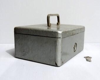 French Vintage Metal Money Box/Cash Box/ Small Strong Box/Vintage Metal Money Box/Vintage Locking Box/Vintage Small Metal Locking Box