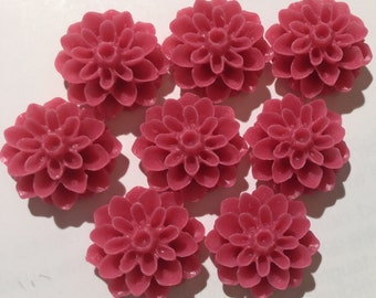 8 pcs 15 mm Cabochon flower,Matte,Brick red flower,Chrysanthemum mum,15 mm brick red resin flower,red resin cabochon,mixed resin flower