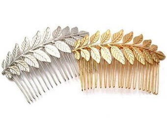 1 pcs Hair Comb,bridal hair comb,leaf hair comb,Silver Hair Comb,leaf hair comb,gold plated hair comb,wedding hair comb,flower hair comb