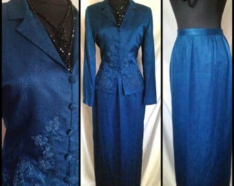 Vintage Adrianna Papell Blue Silk Beaded and Embroidered Suit Set jacket & Skirt sz 6