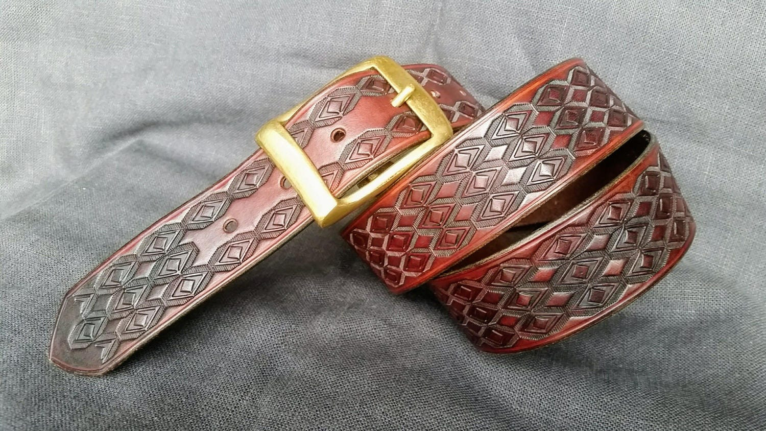 embossed and stitched mahogany leather belt solid brass