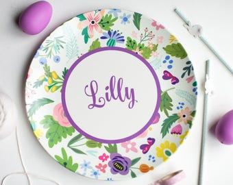 Spring Floral Personalized Children's Plate