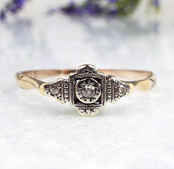 Vintage 9ct Yellow Gold Platinum Art Deco 3 Diamond Engagement Ring / Size U