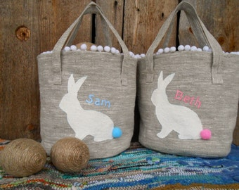 Easter Basket  Bunny Basket Easter Decor Personalized Easter Basket Burlap Easter Basket Easter Egg Hunt Basket Rustic Easter Easter Rabbit