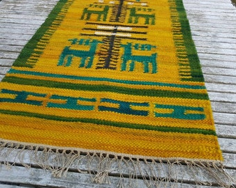 Polish Wallhanging / tapestry. Kilim  design by Wolska. Hand woven by Tancula in wool 1960s.