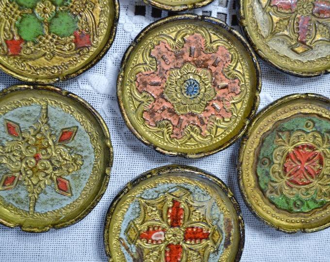 Vintage Italian Coaster Set of 10 Florentine Gilt Drink Coaster Mandala Bohemian Decor Firenze Italy PanchosPorch