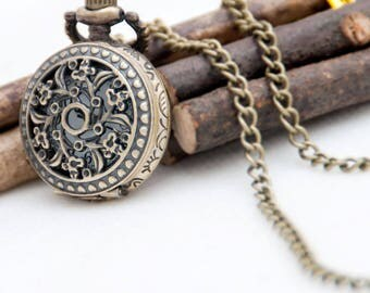 Vintage style pocket watch necklace pendants,steam punk quartz watches,flowers necklaces supplies,retro,battery watches,bronze P62