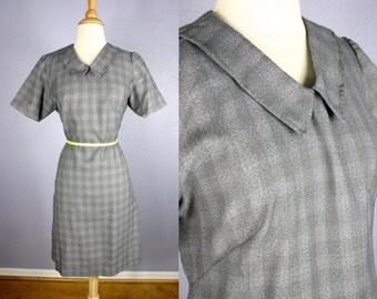 Vintage 60s SHIFT Dress 1960s MOD Dress Secretary Dress Space Age Dress Knit Dress Twiggy Dress Retro SCHOOLGIRL Go Go Midi Gray Blue Plaid