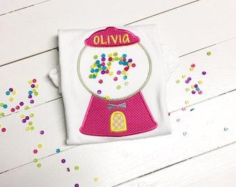 100 days of school shirt - Bubblegum Machine  Applique Shirt - girls bubblegum shirt -diy 100 buttons for 100 days of school