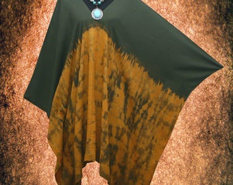 Minimalist Bleach Effect Hand Dyed Artwork V neck Poncho Tunic Top blouse