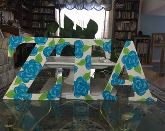 Sorority Greek Letters Roses | Hand Painted Wooden Letters