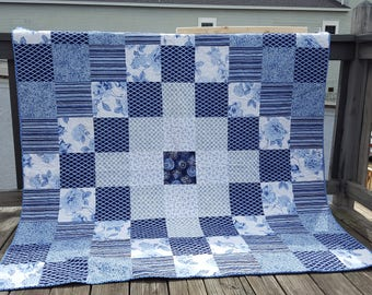 blue and white large throw with velvet  back