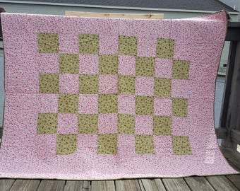 pink and sage throw