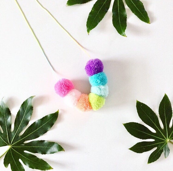 Reserved for Ilyssa! Mini Pastel rainbow Pom pom necklace on pastel ombre cord with priority shipping.