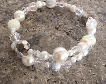Bracelet - MADDIE Silver & White Single Wrap Bracelet