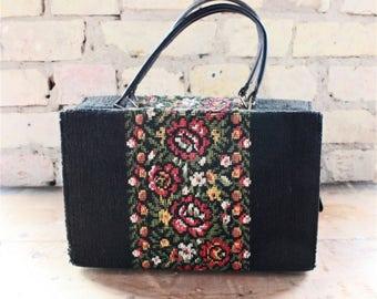Vintage tapestry bag, embroidered handbag, black purse