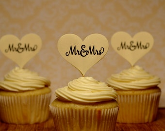 wedding cupcake toppers, Mr and Mrs cupcake toppers, mr and mrs wedding cupcake toppers, 12 toppers