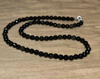 Obsidian faceted 6mm. Men necklace obsidian. 6mm obsidian beads.