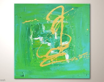 """Square Canvas Art Green 20x20 Inches: """"Fresh""""- Textured Wall Decor, Unique Abstract Painting, Artists Art by MartinK, Handpainted Wall Art"""