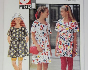 Butterick 6016 Sewing Pattern Girls' Dress Top Shorts and Leggings Sizes 7, 8 & 10 Uncut