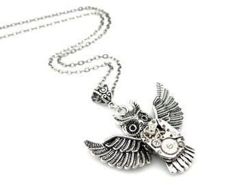 Clockpunk Owl Necklace - Clockpunk Halloween - Halloween Owl Pendant - Edwardian Owl pendant - Halloween Gift Idea - Steampunk Bird