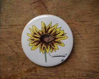 Sunflower Pin Back Button