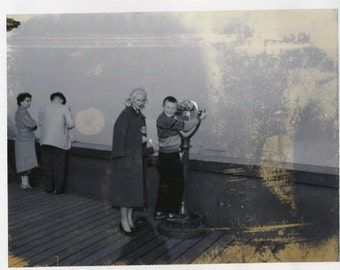 Vintage Polaroid Photo..The Sightseers, 1950's Original Found Photo, Vernacular Photography