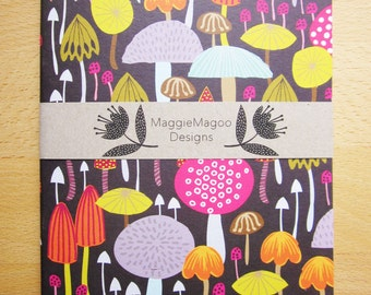 Notebook mushrooms and toadstools design A5 by MaggieMagoo Designs