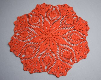 large Crochet doily, lace doilie, table decoration, crocheted place mat, center piece, doily tablecloth, table runner, napkin,orange