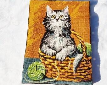 French vintage framed  tapestry,framed cat tapestry , cat in a basket tapestry ,animal tapestry