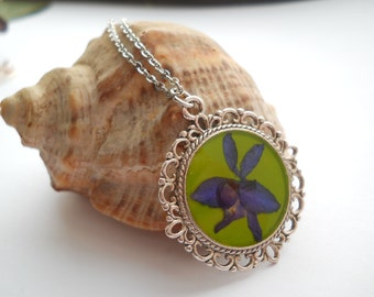 Lime green pendant, real larkspur pendant, resin jewelry, surgical steel necklace, real flower pendant, resin pendant, larkspur jewelry