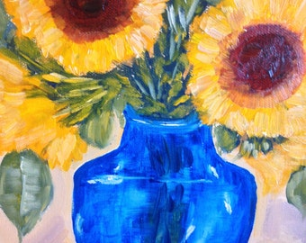 "original oil painting, still life ""everyday life"" sunflowers and blue vase 10 x 10 still life fine art"