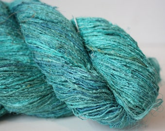 NEW***Handspun Recycled Mulberry Silk - Aqua