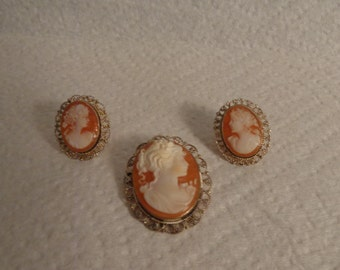 Sterling Silver Coral & Cream Colored Cameo Pin/Pendant and Pierced Earrings Set