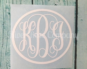 Solid Circle Fancy Script Monogram |Circle Vine Monogram | Laptop Monogram | Car Monogram | Notebook Monogram | Yeti Monogram