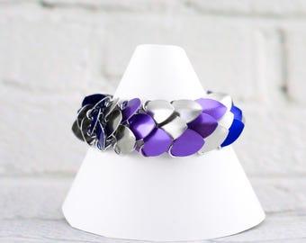 Scale Maille Medium Cuff Bracelet - Blue, Purple & Silver (Geo)