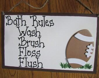 Football Bath Rules Sign Wash Brush Floss Flush Humorous Sport Bath Sign Custom Ladybug Bathroom Decor