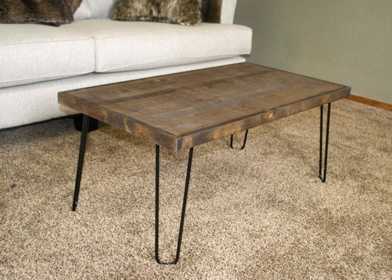 Coffee Table Wooden Coffee Table Rustic Table Hairpin Leg