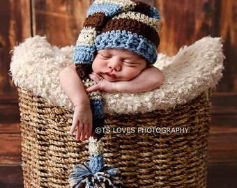 Newborn Baby Boy Country blue or Cream and black, or multi color long tail elf hat with pompom Crochet elf hat Baby Hat ready to ship