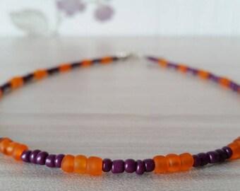 Beaded Choker Necklace, Dainty Seed Bead Necklace, Orange and Purple Necklace, Orange Choker, Purple Choker