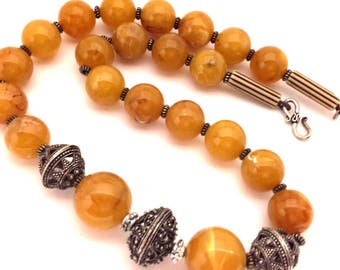 Necklace Morocco Handmade Vintage Amazing Pressed Marble  Butterscotch Amber Pressed Man - Made Resin Swirl Beads Long Excellent