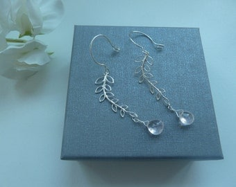 Sterling silver willow earrings with rose quartz briolettes