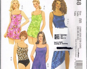 Size 18-24 Misses' Plus Size Swimsuit Sewing Pattern - Two Piece Swim Suit Pattern - Swim Shorts Pattern - Tankini Pattern - McCalls M4848